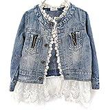 Girls Kids Fashion Jean Jacket Denim Jeans Lace Outwear Cowboy Overcoat, Blue, 140cm (9-10 Years)