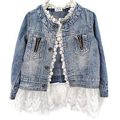 Lace Overcoat - Girls Kids Fashion Jean Jacket Denim Jeans Lace Outwear Cowboy Overcoat, Blue, 100cm (2-3 Years)