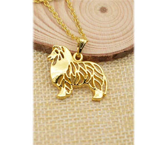 Fashion Boho Chic Cute Dog Standing Rough Collie Necklace Women Choker Pendant Necklace Collars Jewelry Gift,Silver Plated,45cm