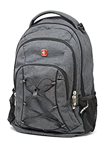 SwissGear Travel Gear Lightweight Bungee Backpack (Heather Grey) - for School, Travel, Carry On, Professionals 17.5