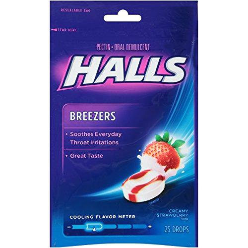 Halls Breezers Throat Drops   Creamy Strawberry  25 Drops