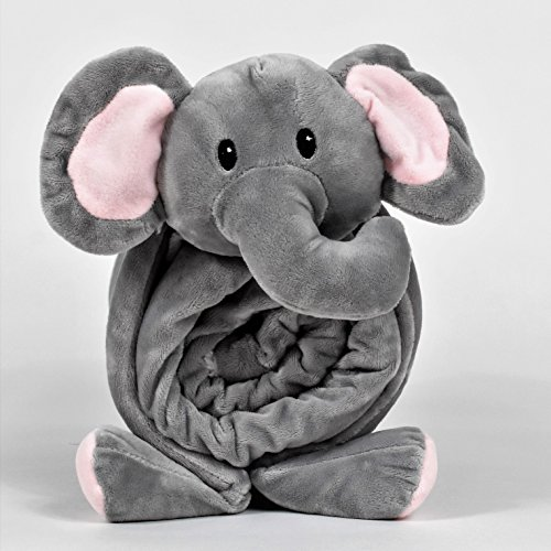 SNUGGIES Stuffed Animal Elephant Pillow and Blanket Kids Cuddle Pillow and Baby Blanket Perfect for Baby Shower ()