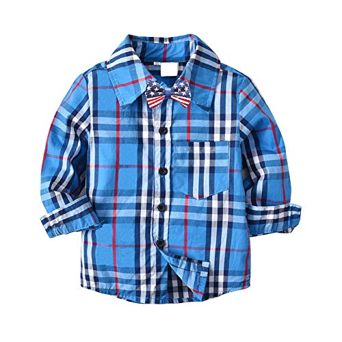 (Toddler Boys Checkered Plaid Button Up Woven Cotton Casual Sports School Shirt Top 3-4Y)