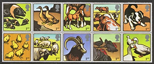 (Great Britain #2260a Farm Animals Postage Stamps, Block of Ten)