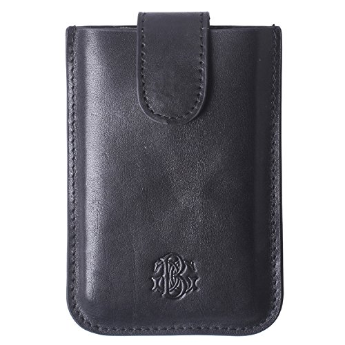 Black RFID Leather Minimalist Slim Wallets - Credit Card Holder Front Pocket Wallet for Men Women