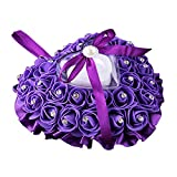 Best Ring Pillow With Pearl Rhinestones - Wintefei Rose Flower Rhinestone Heart Shaped Satin Bowknot Review