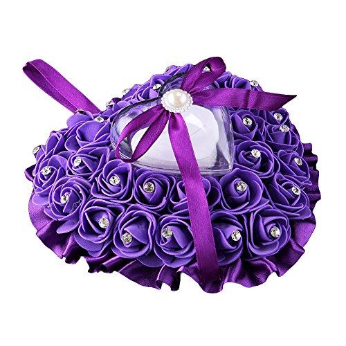 Rhinestone Satin Wedding Ring - Academyus Rose Flower Rhinestone Heart Shaped Satin Bowknot Ring Box Pillow Wedding Gift