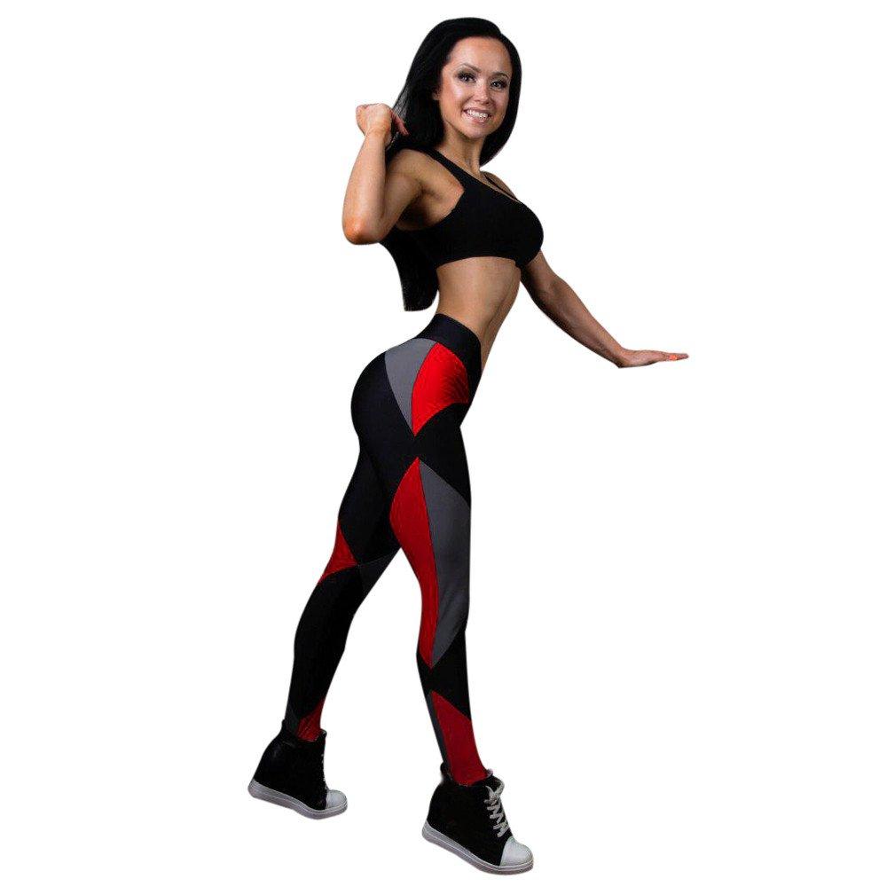 Women Yoga Leggings,Women Sports Gym Yoga Pants Mid Waist Workout Fitness Yoga Pants Elastic Trouser Yamally Black