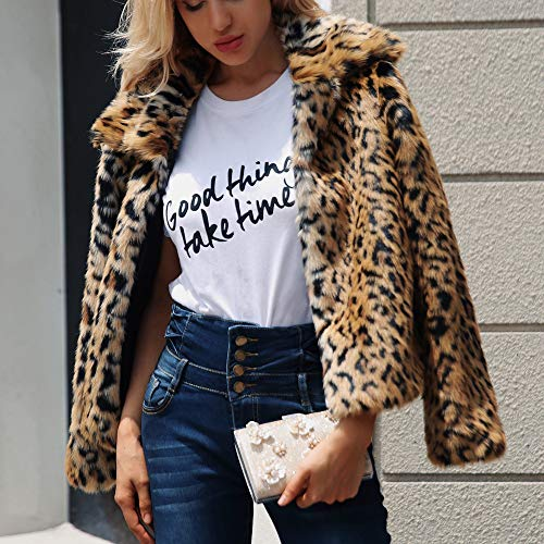 TOTOD Coat for Women, Plus Size Womens Warm Leopard Print ...