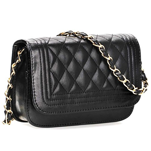 Black PU Faux Leather Diamond Quilted Pattern Mini Handbag Shoulder Strap Clutch ()