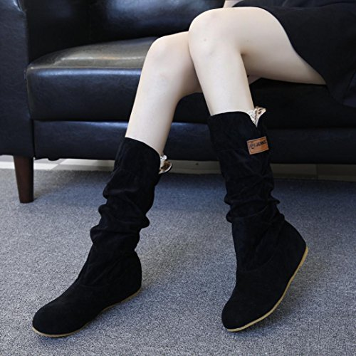 Lenfesh Woman Knee High Boots Flat Heel Nubuck Motorcycle Boot Autumn Winter Shoes Black CDKs9oGs2a