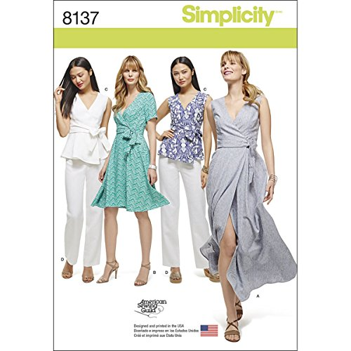 Simplicity 8137 Women's Wrap Dress, Top, and Pants Sewing Patterns, sizes 20W-28W