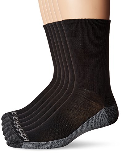 Fruit of the Loom Men's Essential 6 Pack Casual Crew Socks | Arch Support | Black & White, Black, Shoe Size: -