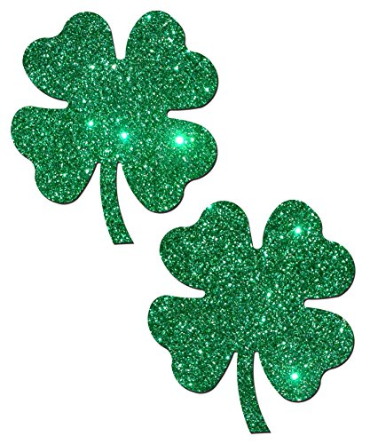 [Shamrock Lucky Green Glittering 4-Leaf Clover Nipple Pasties by Pastease o/s] (Revealing Costumes)