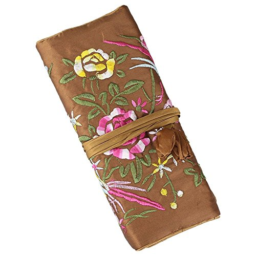 Jewelry Roll,Travel Jewelry Roll Bag,Silk Embroidery Brocade Jewelry Organizer Case with Tie Close,Brown