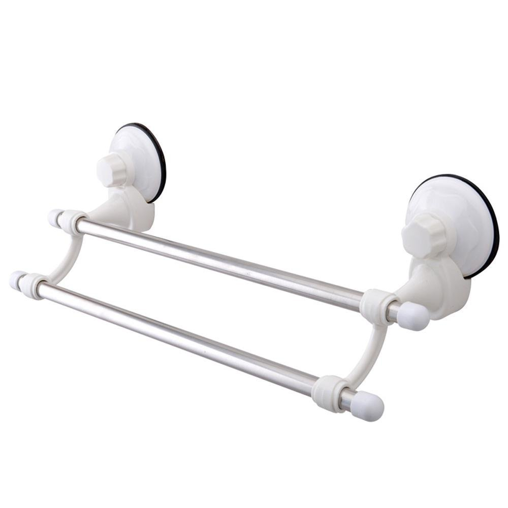 Inchant Suction Cup Double Towel Bar Stainless Steel tube No Drill Wall Mount Towel Rail Holder Bathroom Accessory Clothes Organizer Shelf Rack,Chrome 16-inch
