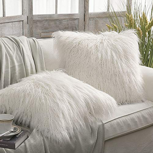 Phantoscope Set of 2 Off-White Decorative New Luxury Series Merino Style Fur Throw Pillow Case Cushion Cover 18