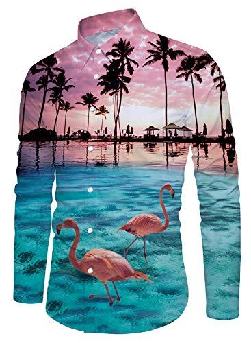 (Uideazone Men Fashion Palm Tree Flamingos Hawaiian Shirt Long Sleeve Button Down Shirts)