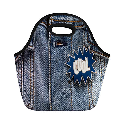 Semtomn Lunch Bags Blue 90S Denim Jacket Cool Graphic Pin Funky Accessory Neoprene Lunch Bag Lunchbox Tote Bag Portable Picnic Bag Cooler Bag