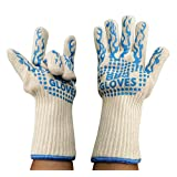 BBQ Gloves Grilling Cooking Gloves-932 °F-500 degree celcuis heat resistant- Gloves Silicone- Microwave Oven - Kitchen oven extreme heat resistant gloves,EN407 Certified (Blue White)
