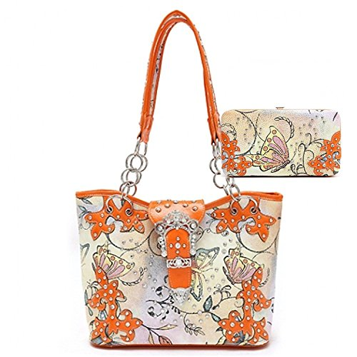 (Orange Butterfly Print Western Rhinestone Buckle Concealed Carry Handbag and Matching Wallet (Tote bag set))