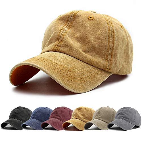 (HH HOFNEN Men Women Washed Twill Cotton Baseball Cap Vintage Adjustable Dad Hat )