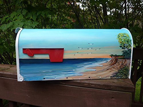 Rural white metal mailbox hand painted nautical design Quiet Lake View""