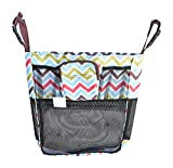 Set of Universal Fit Detachable Stroller Organizer With Deep Pocket and Zippered Case (Bundle) (Multi Chevron)
