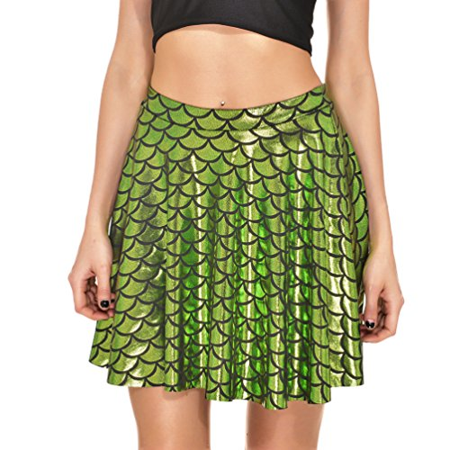 2005 Fish - AISKLY Fish Scales Skirts Women Casual Cute Above Knee Mini Flared Skater skirt, Yl-2005, Large