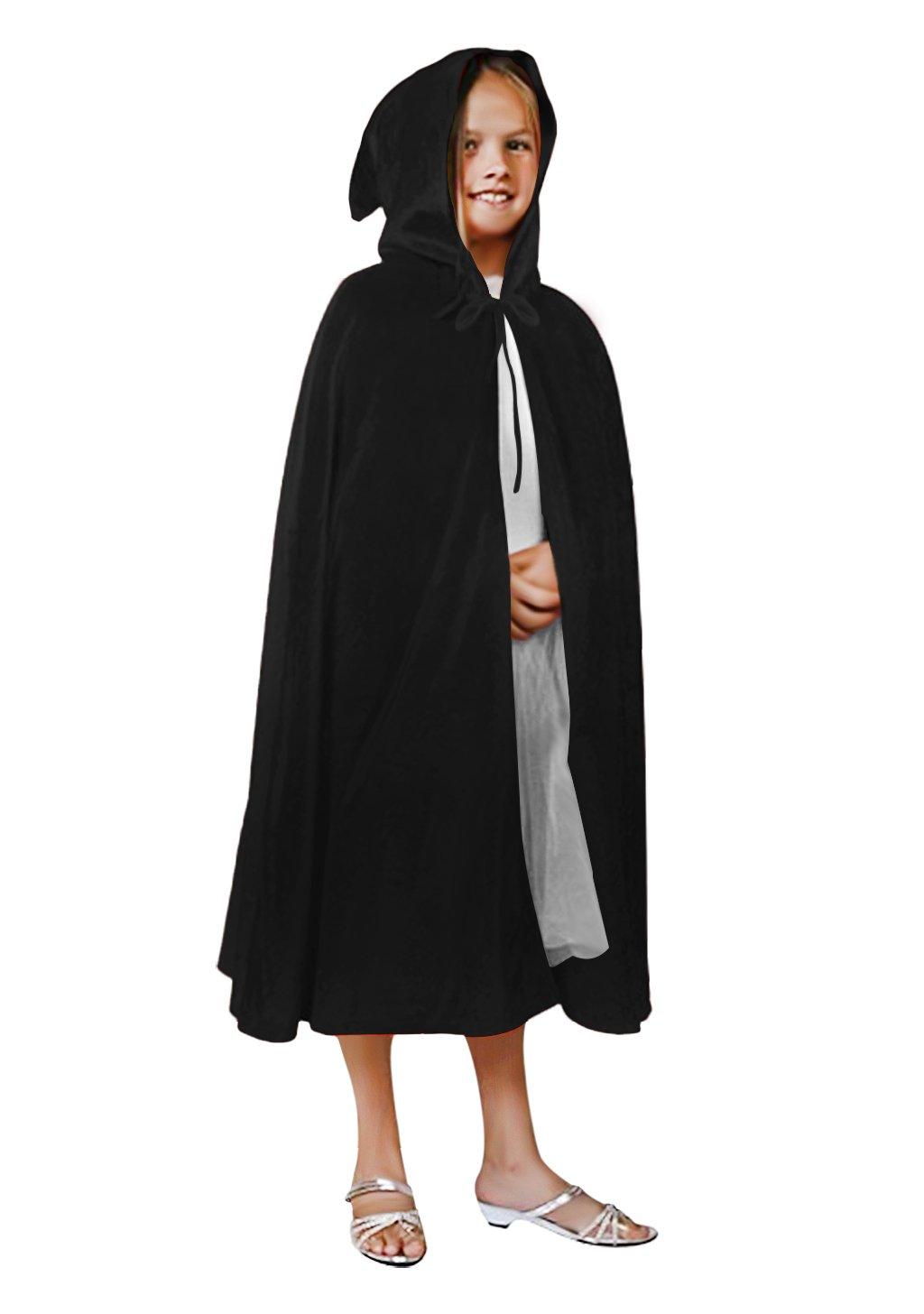 Kids Velvet Halloween Costume Long Witch Vampire Hooded Cloak Cape Fancy Dress Outfit