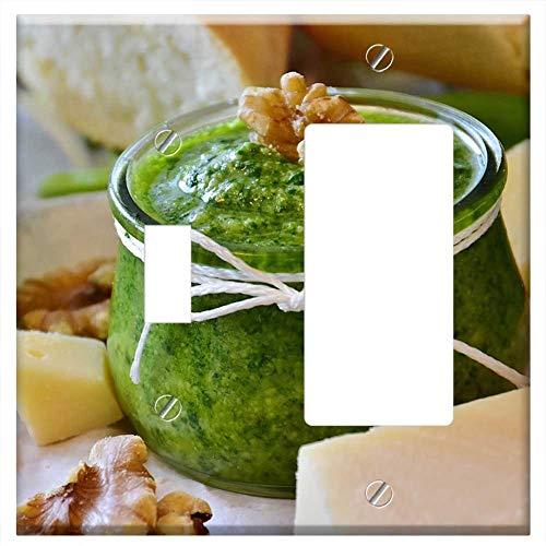(1-Toggle 1-Rocker/GFCI Combination Wall Plate Cover - Pesto Bear Garlic BArlauch Pesto Herbs Homema)