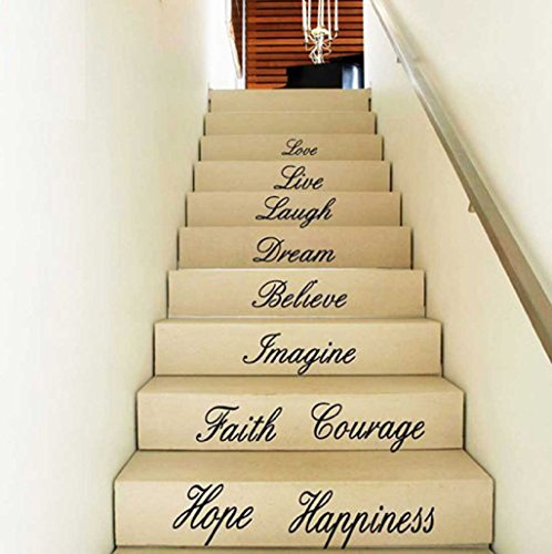 Hot Clearance!Canserin Love Live Hope Laugh Wall Quote Decal Removable Stair Wall Stickers