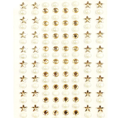 AllyDrew 164 pieces Crystal Star and Pearl Stickers Adhesive Rhinestones, Champagne (Diamond Star Champagne)
