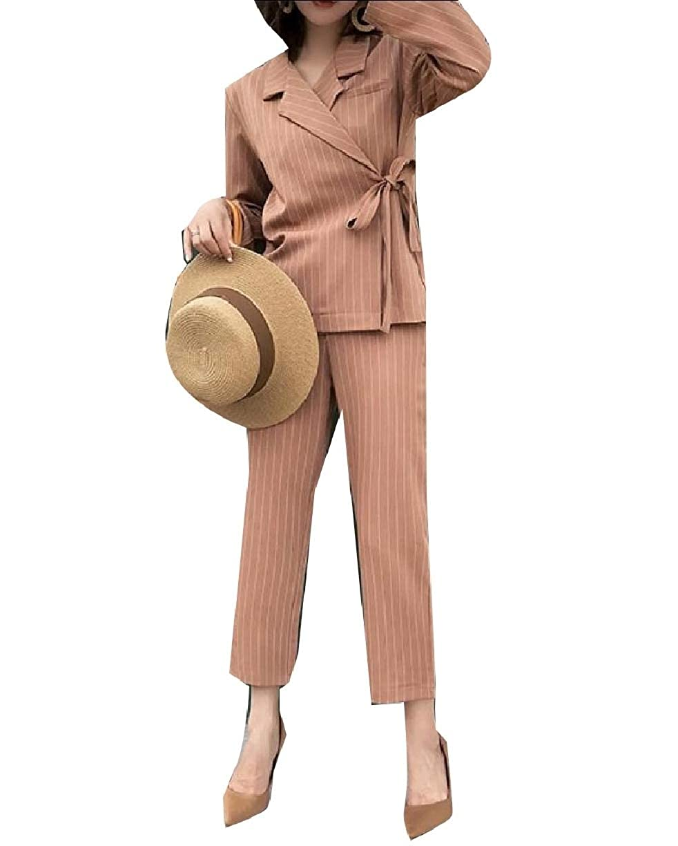 SportsX Women Strappy Curvy Office Leisure Strip Blazer Long Pants Set