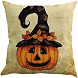 SHL Pumpkin Throw Pillow Cover Halloween Cushion Case 18 x 18 inch Cotton Linen Autumn Fall Home Decor (D)