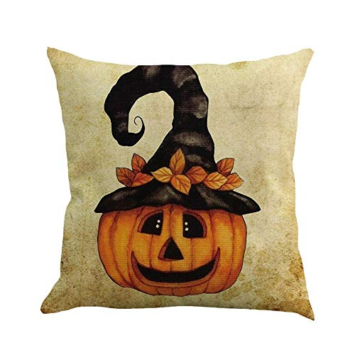 SHL Pumpkin Throw Pillow Cover Halloween Cushion Case 18 x 18 inch Cotton Linen Autumn Fall Home Decor (D)]()