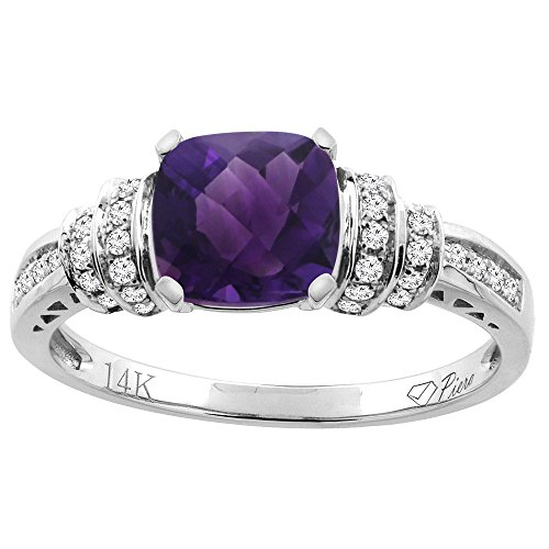 14K White Gold Natural Amethyst Ring Cushion Cut 7x7 mm Diamond Accents, size 5.5 ()