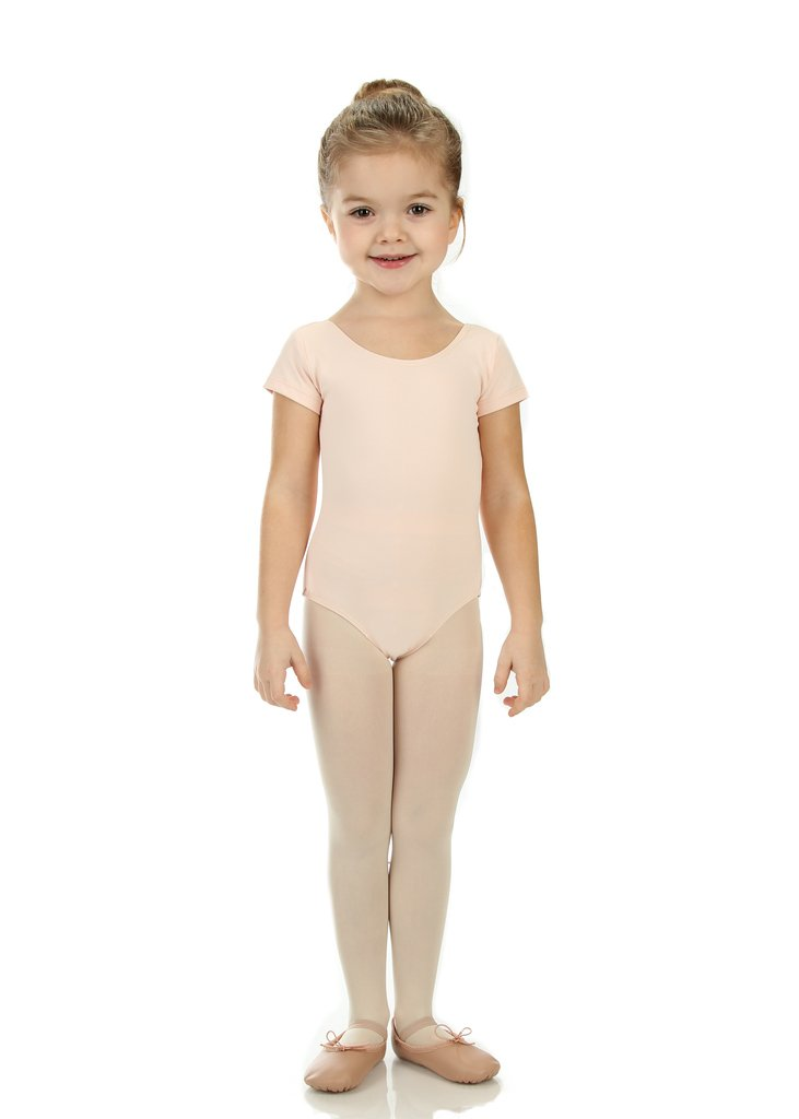 Elowel Girls' Team Basics Short Sleeve Leotard Nude Pink (size-6-8 )