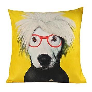 Nava Housse de coussin Motif chien style Pop Art Jaune: Amazon.fr