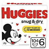 Huggies Snug & Dry Baby Diapers, Size 6 (fits 35+ lb.), 104 Count, Giant Pack (Packaging May Vary)
