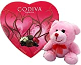Godiva Chocolates, Godiva Chocolatier, Valentines Milk and Dark Chocolate Assortment. 9 count, and Valentine Teddy Bear