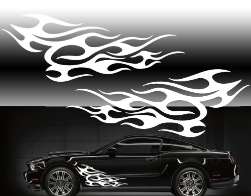 """Universal car side flames 40""""x16"""" car side decals in white"""