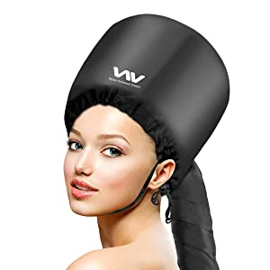 Bonnet Hood Hair Dryer Attachment Set - Soft Adjustable Hooded Bonnet for Hand Held Hair Dryer - Mask Cap for Drying Styling Curling Deep Conditioning, Hair Rollers Included