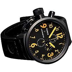 WhatsWatch 50mm Parnis black dial orange marks PVD Chronograph Lefty quartz mens Watch PA-0111192