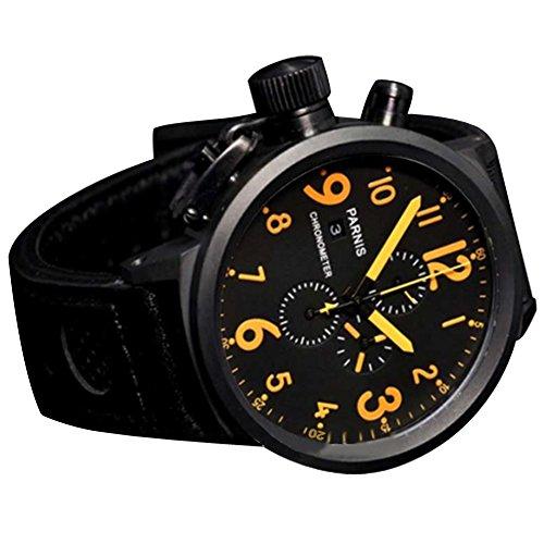 WhatsWatch 50mm Parnis Black dial Orange Marks PVD Chronograph Lefty Quartz Mens Watch ()