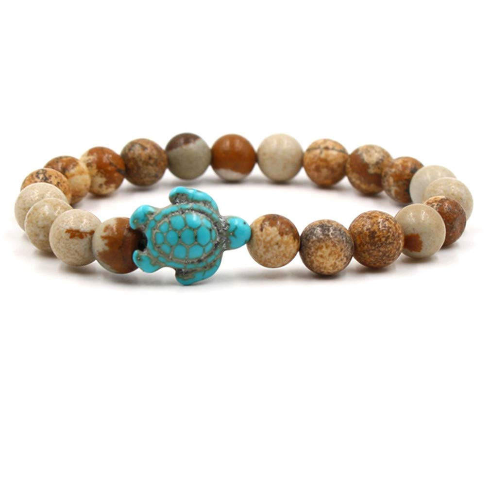SONGLIN Graphic Agate Sea Turtle Beads Bracelets for Women Men Classic Natural Stone Elastic Bracelet Beach Jewelry