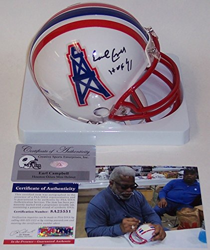Earl Campbell Autographed Hand Signed Houston Oilers Mini Football Helmet -  with HOF 91 Inscription - 46d124ff5