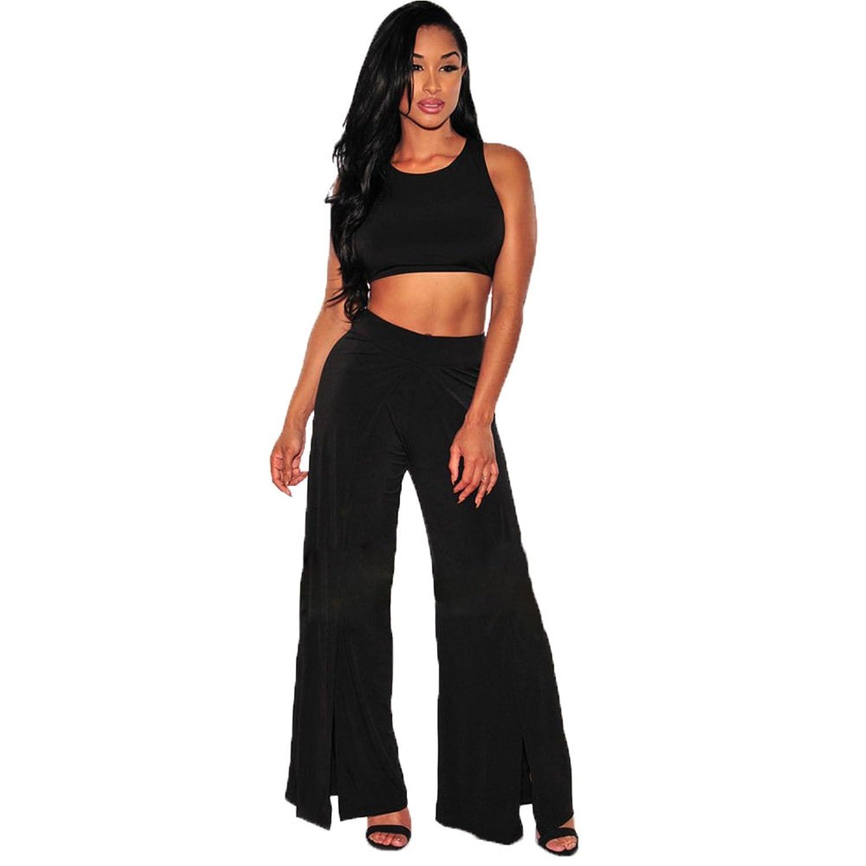 Women Round Neck Sleeveless Clubwear Crop Top Split Wide Leg Pants 2 Pieces Set