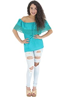 Leos Imports Embroidered Mexican Blouse Off The Shoulder Aqua At