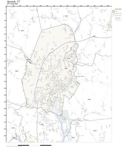 Amazon.com: ZIP Code Wall Map of Norwich, CT ZIP Code Map Not ...
